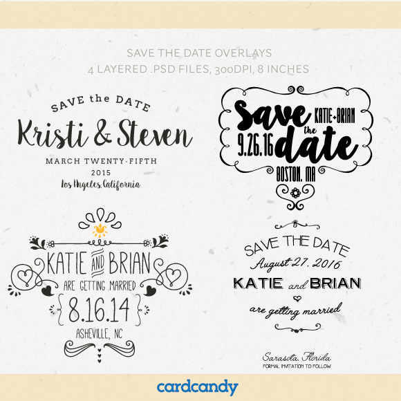 Save The Date Card Overlay Templates
