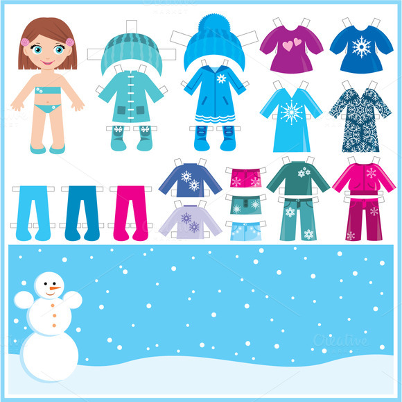 Paper Doll With A Set Of Winter Clot
