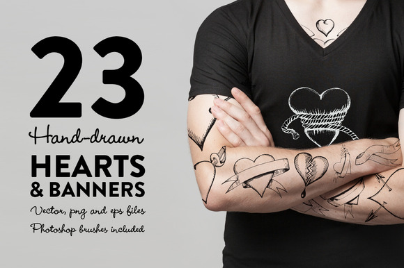 Hand-drawn Hearts Banners