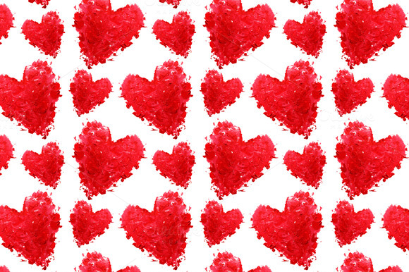 Oil Painted Hearts Seamless Pattern
