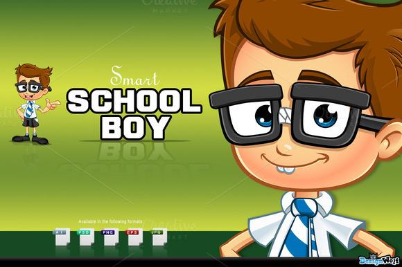 Smart School Boy Character