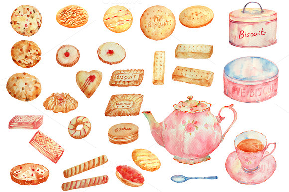 Watercolor Biscuits And Tea Pot Set