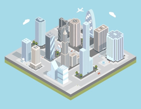 Vector Isometric Urban City Center