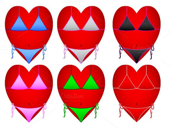 Hearts In Swimsuit Vector Illustr-on