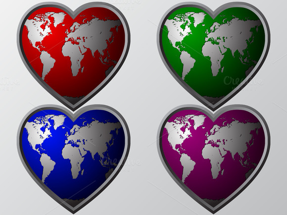 Earth S Hearts Vector Illustration