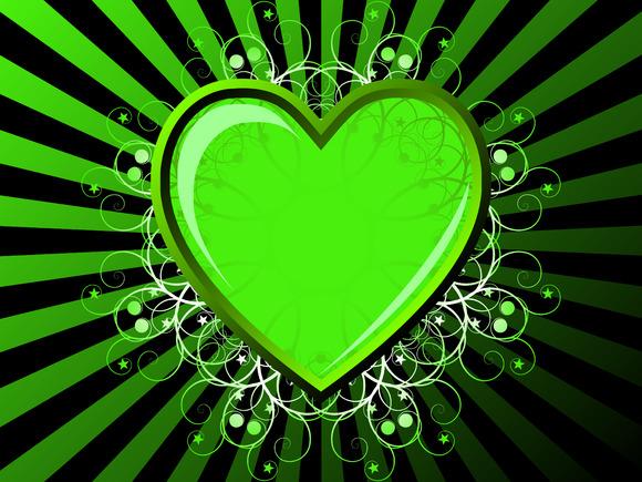 Green Heart Vector Illustration