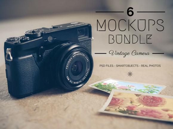 6 Vintage Camera Mockups Bundle