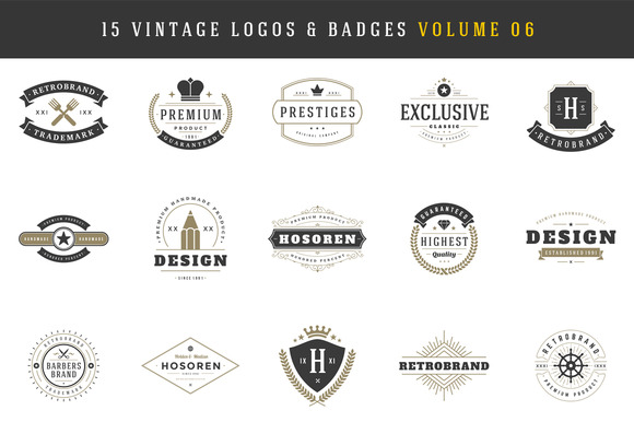 15 Retro Vintage Logotypes Badges