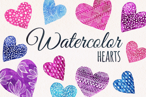 Valentines Day Set Watercolor Heart