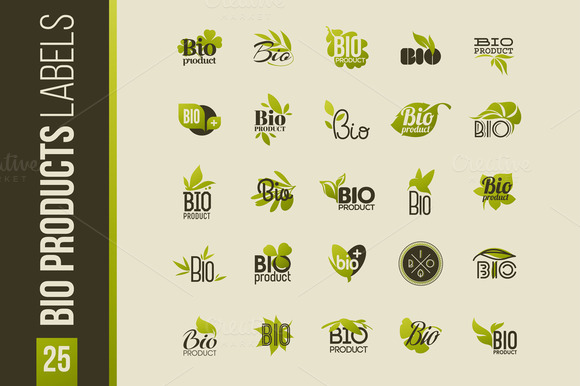 Set Of Bio Products Labels Emblems