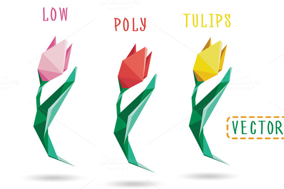 3 Low Poly Style Colored Tulips