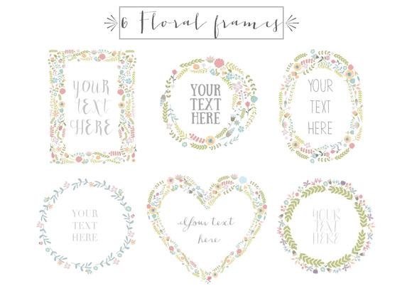 6 Floral Frames Clip Art Vol.1