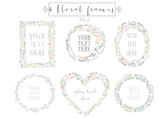 6 Floral Frames Clipart Vol.2