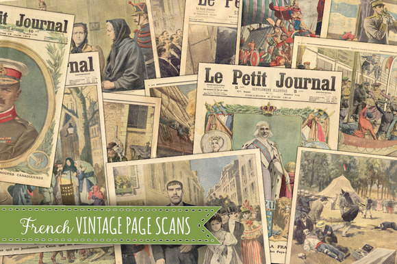 13 Old French Vintage Pages Paper