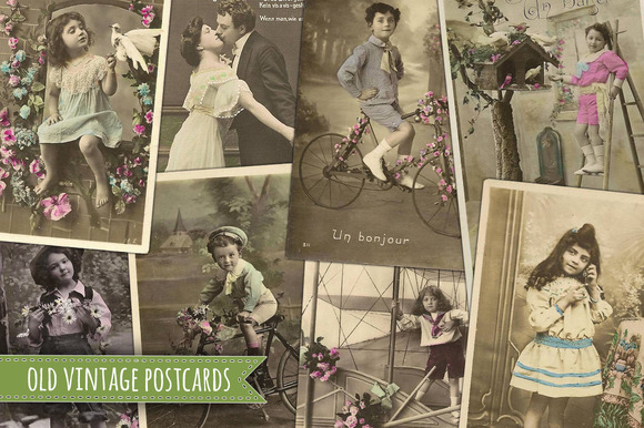 Old Antique Postcards Children Love