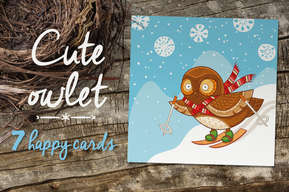 7 Happy Cards With Owlets