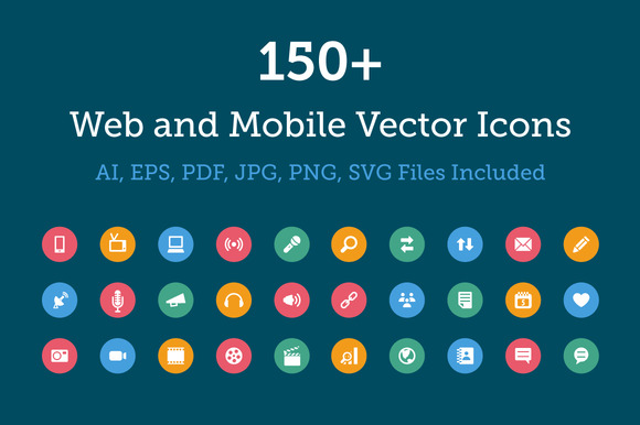 150 Web And Mobile Vector Icons