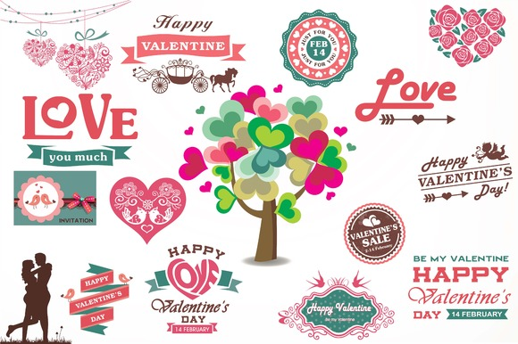Valentine Labels Badges
