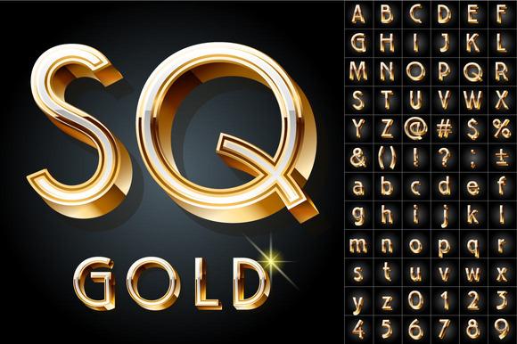 Illustration Of Golden 3D Alphabet