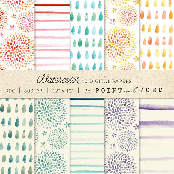 Watercolor Digital Paper Pastels