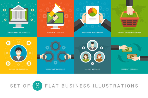 Flat Business Illustrations Set
