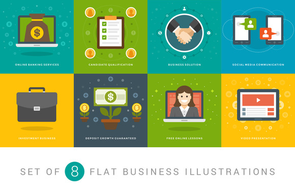 Flat Business Illustrations Set