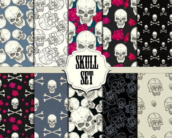 Skull Set Seamless Patterns