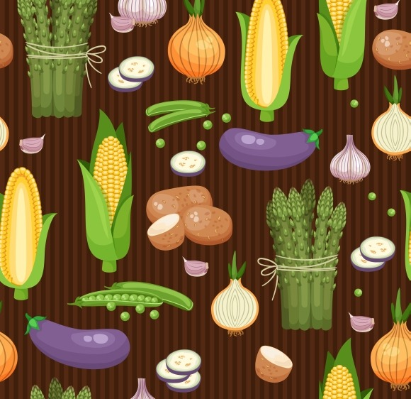 Asparagus Corn And Peas Pattern