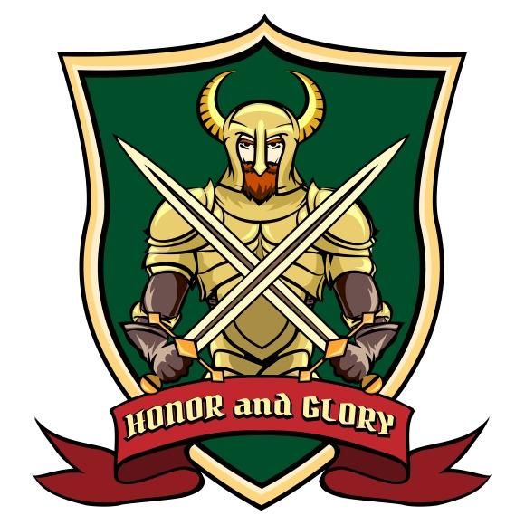 Warrior On Shield Label