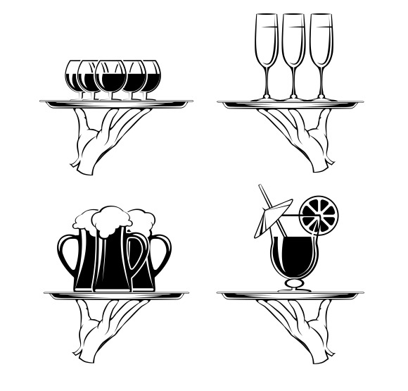 Hand With Tray And Drinks