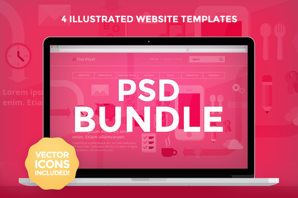 PSD Bundle 4 Website Templates