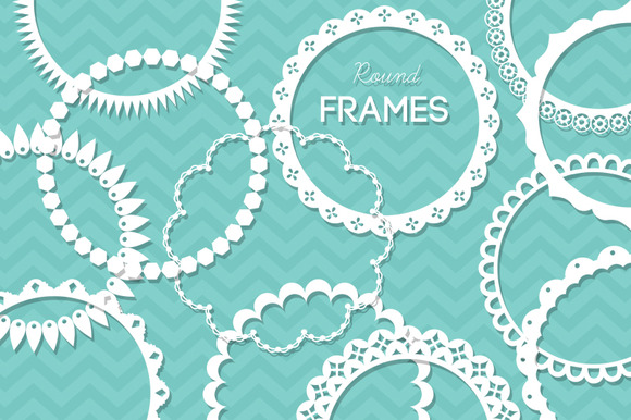 12 Round Lace Frames Clip Art IV