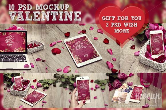 10 PSD Valentine Mockup GIFT 2 PSD