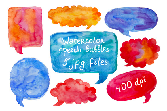 Watercolor Speech Bubble Set