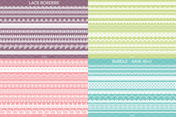 40 Lace Borders Bundle Save 40%