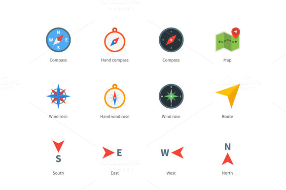 Compass And Map Colored Icons On Whi