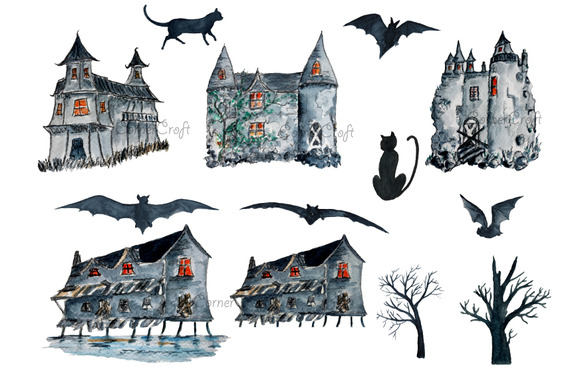 Watercolour Halloween Haunted Houses