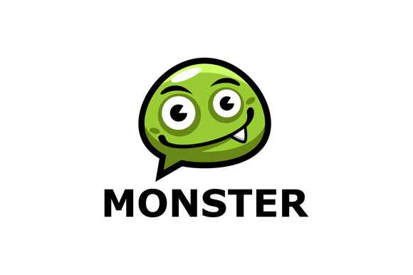 Monster Chat Cartoon Logo Template