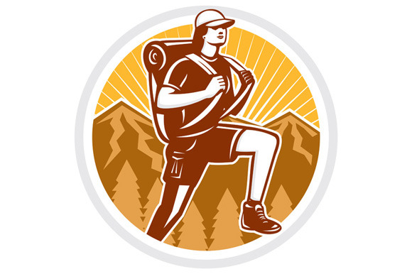 Female Hiker Hiking Mountain Circle