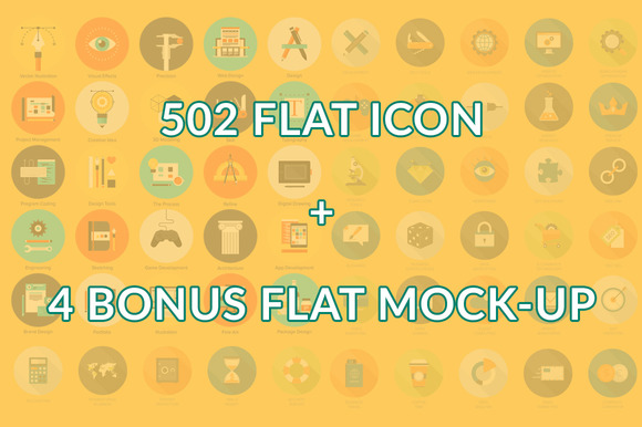 502 Flat Icons Design Elements
