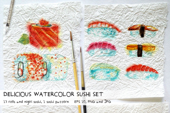 Delicious Watercolor Sushi Set