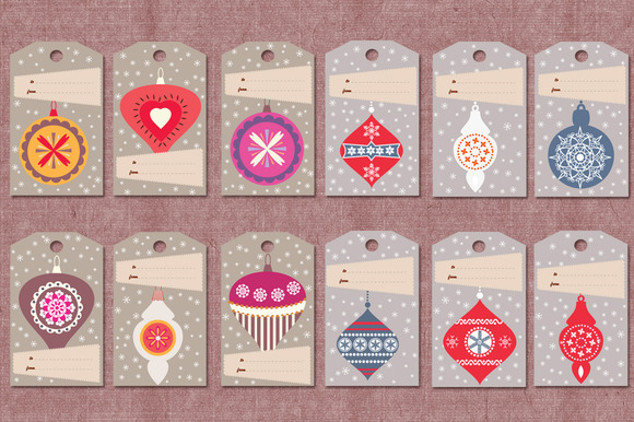 Retro Stylised Christmas Gift Tags
