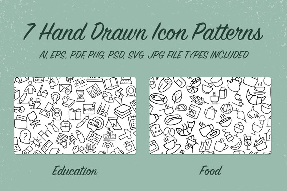7 Hand Drawn Icon Patterns
