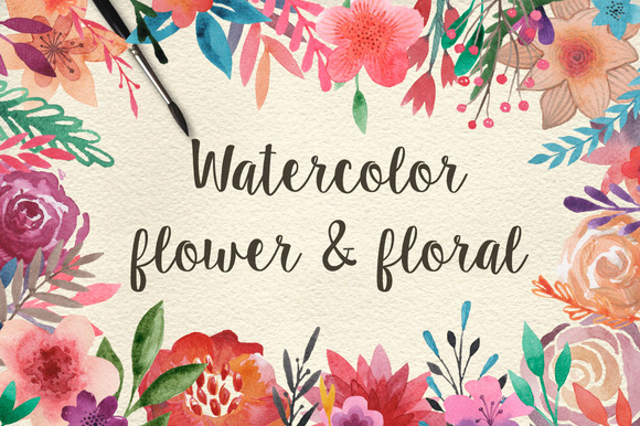 159 Watercolor Flowers Florals