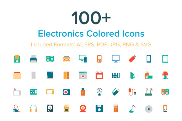 100 Electronics Colored Icons