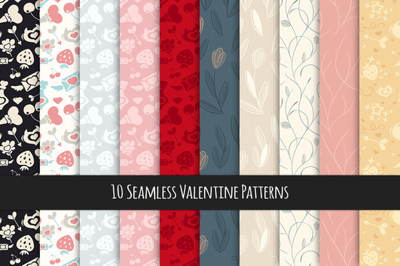 Seamless Valentine Patterns Set
