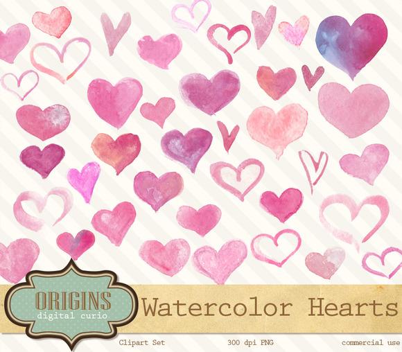Watercolor Hearts Valentine Clipart