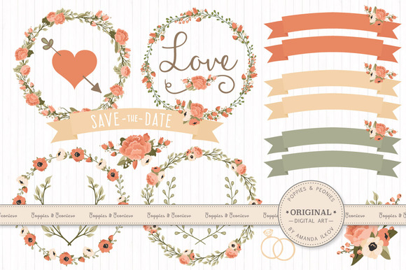 Premium Wedding Floral Clipart Vec
