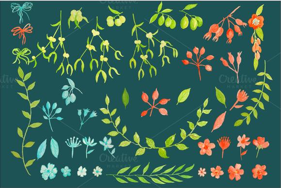 Watercolor Clipart Mistletoe Olive