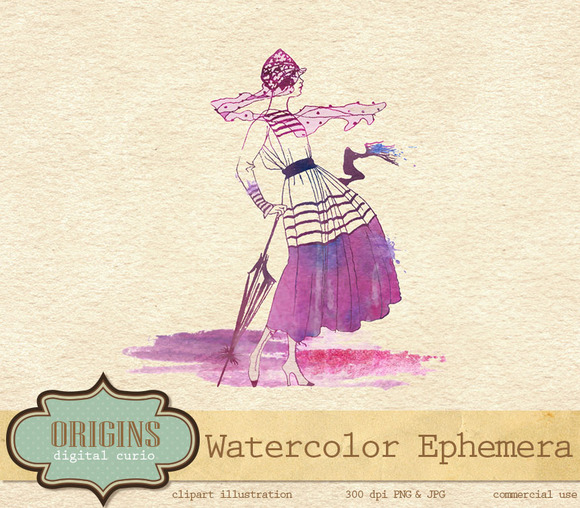 Watercolor Ephemera Vintage Clipart